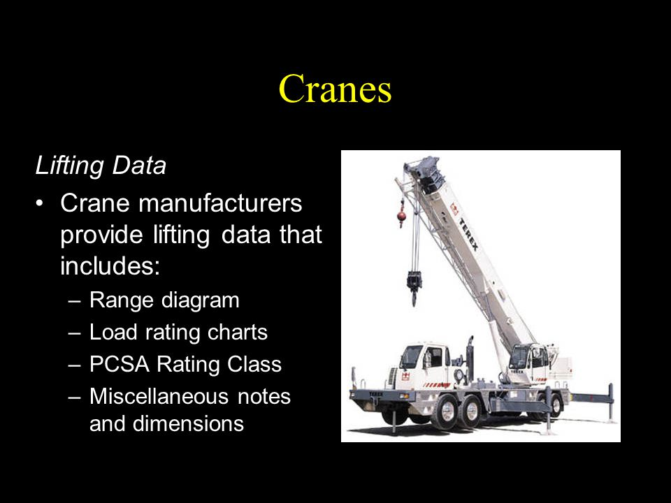 Cranes Lifting Data Crane manufacturers provide lifting data that includes: –Range diagram –Load rating charts –PCSA Rating Class –Miscellaneous notes
