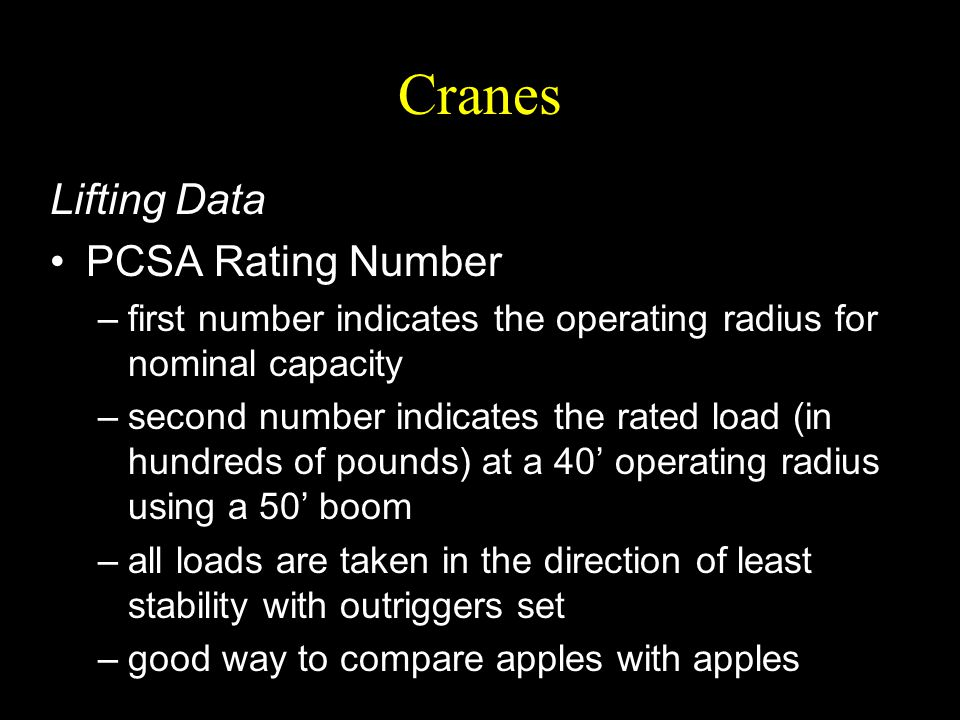 Cranes Lifting Data PCSA Rating Number –first number indicates the operating radius for nominal capacity –second number indicates the rated load (in h