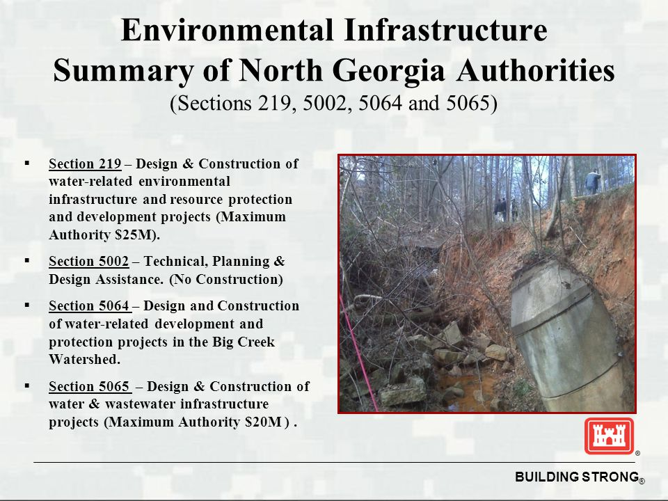 BUILDING STRONG ® Environmental Infrastructure Summary of North Georgia Authorities (Sections 219, 5002, 5064 and 5065)  Section 219 – Design & Const