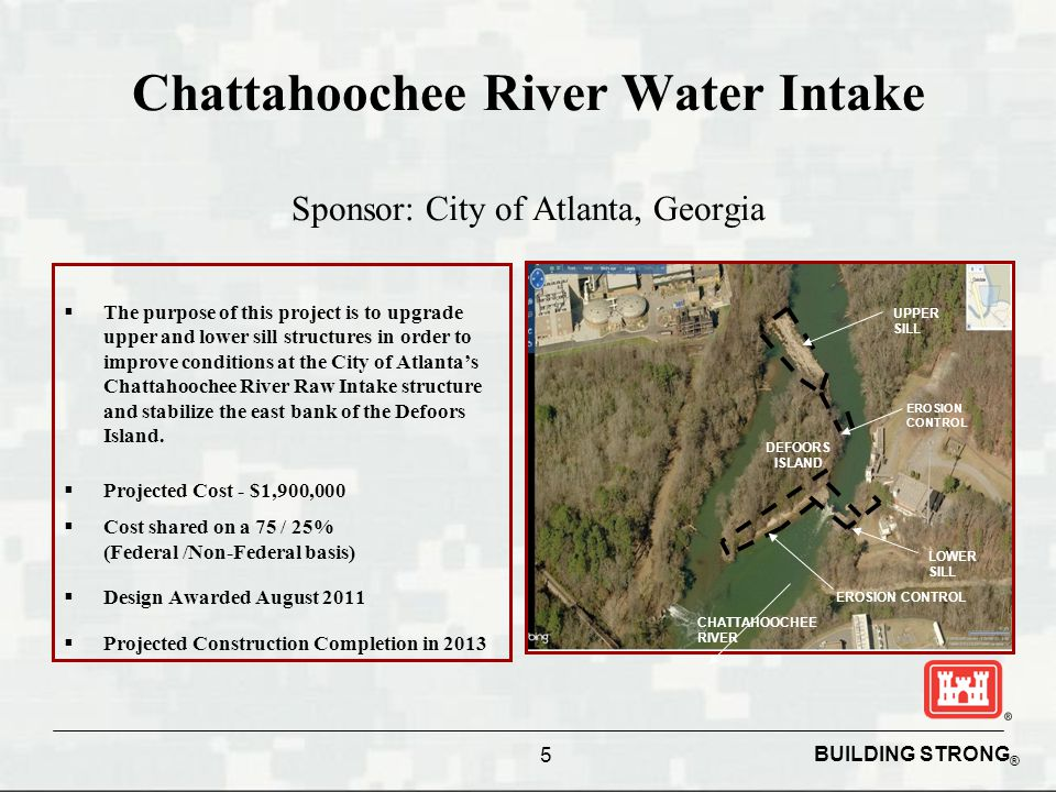BUILDING STRONG ® Chattahoochee River Water Intake Sponsor: City of Atlanta, Georgia  The purpose of this project is to upgrade upper and lower sill