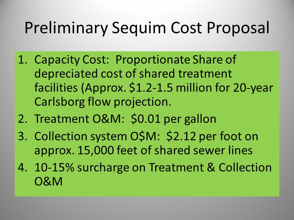Preliminary Sequim Cost Proposal 1.Capacity Cost: Proportionate Share of depreciated cost of shared treatment facilities (Approx.
