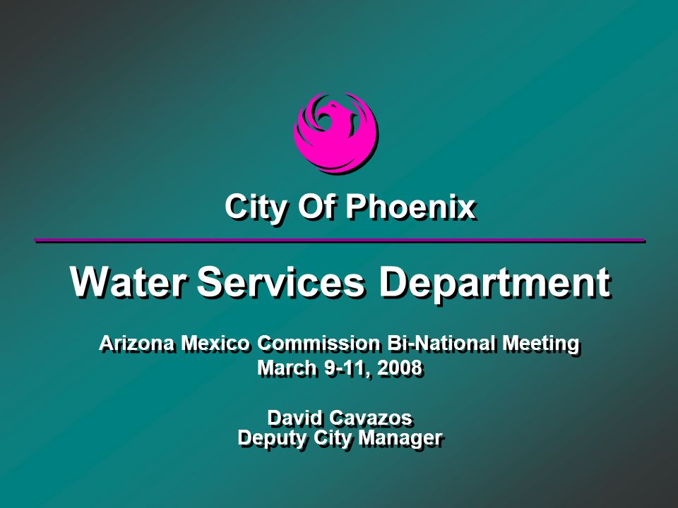 Water Services Department Arizona Mexico Commission Bi-National Meeting March 9-11, 2008 David Cavazos Deputy City Manager Water Services Department A