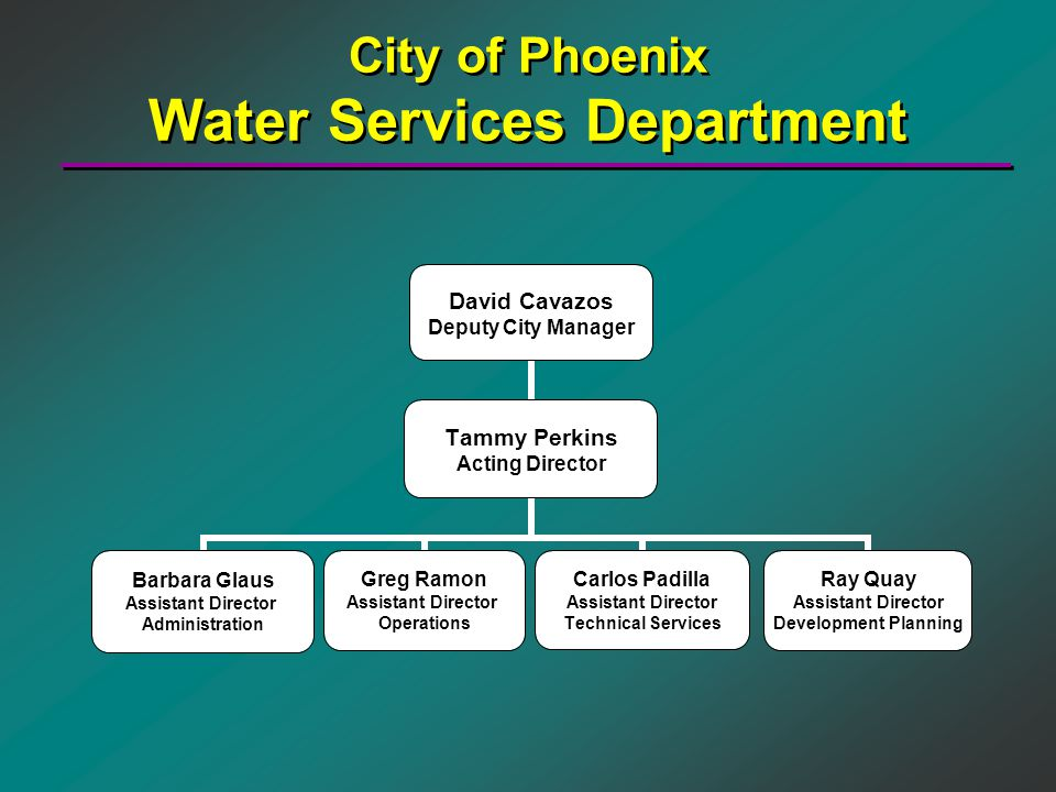 City of Phoenix Water Services Department David Cavazos Deputy City Manager Tammy Perkins Acting Director Barbara Glaus Assistant Director Administrat