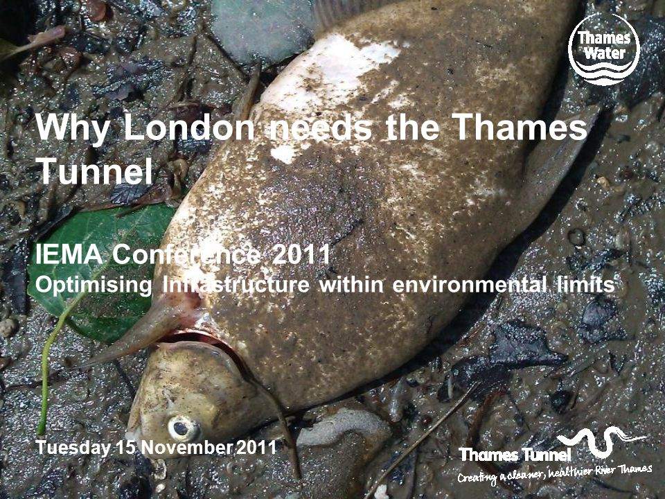 Why London needs the Thames Tunnel IEMA Conference 2011 Optimising Infrastructure within environmental limits Tuesday 15 November 2011