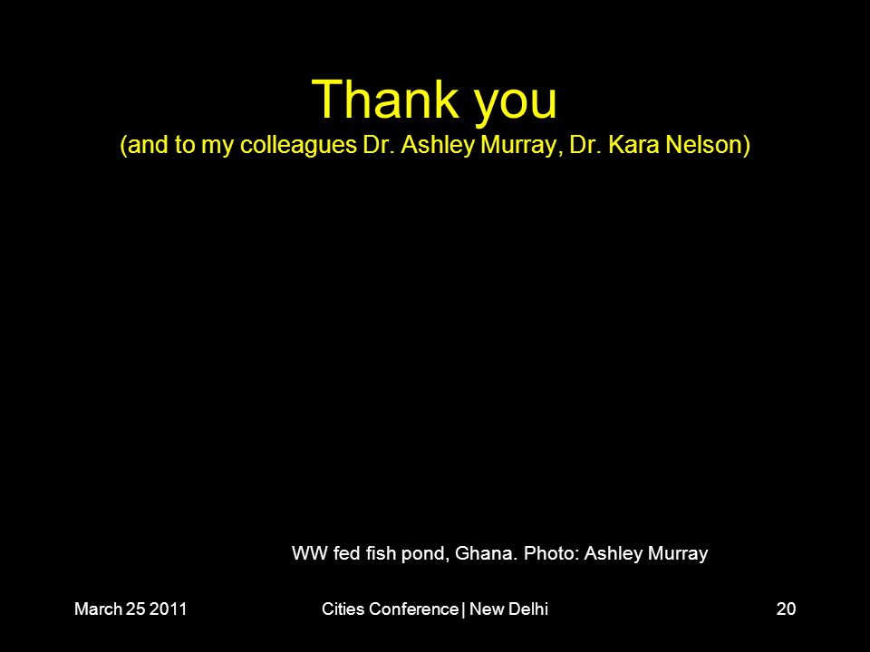 March 25 2011Cities Conference | New Delhi20 Thank you (and to my colleagues Dr.