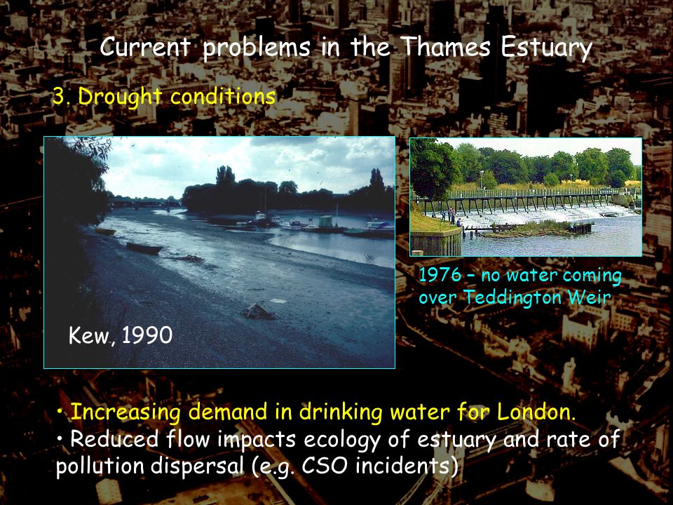 3. Drought conditions Current problems in the Thames Estuary Kew, 1990 1976 – no water coming over Teddington Weir Increasing demand in drinking water