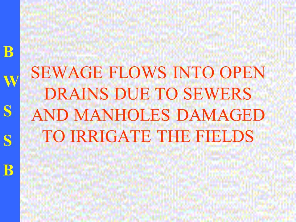 BWSSBBWSSB SEWAGE FLOWS INTO OPEN DRAINS DUE TO SEWERS AND MANHOLES DAMAGED TO IRRIGATE THE FIELDS