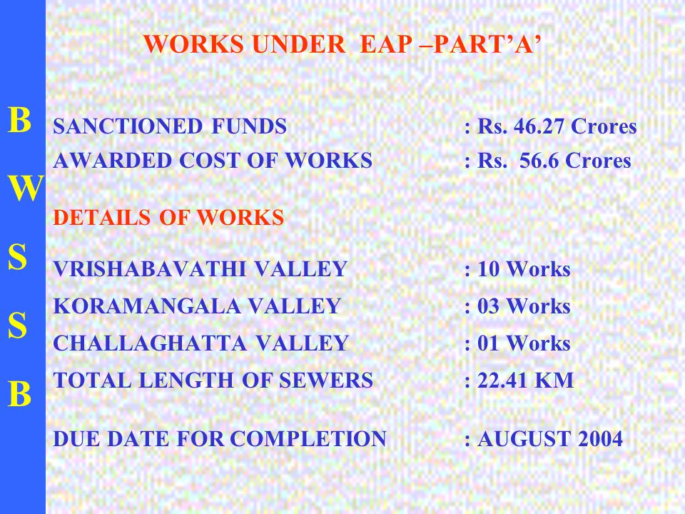BWSSBBWSSB WORKS UNDER EAP –PART'A' SANCTIONED FUNDS : Rs.