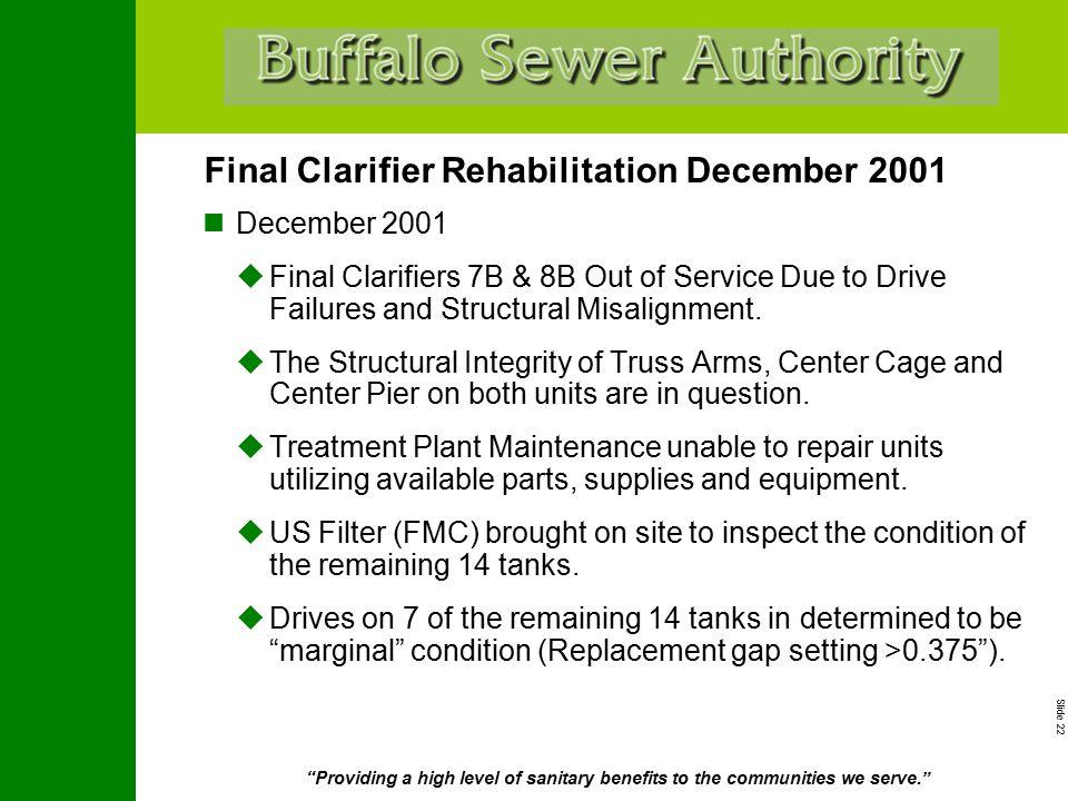 "Slide 22 ""Providing a high level of sanitary benefits to the communities we serve."" Final Clarifier Rehabilitation December 2001 December 2001  Final"