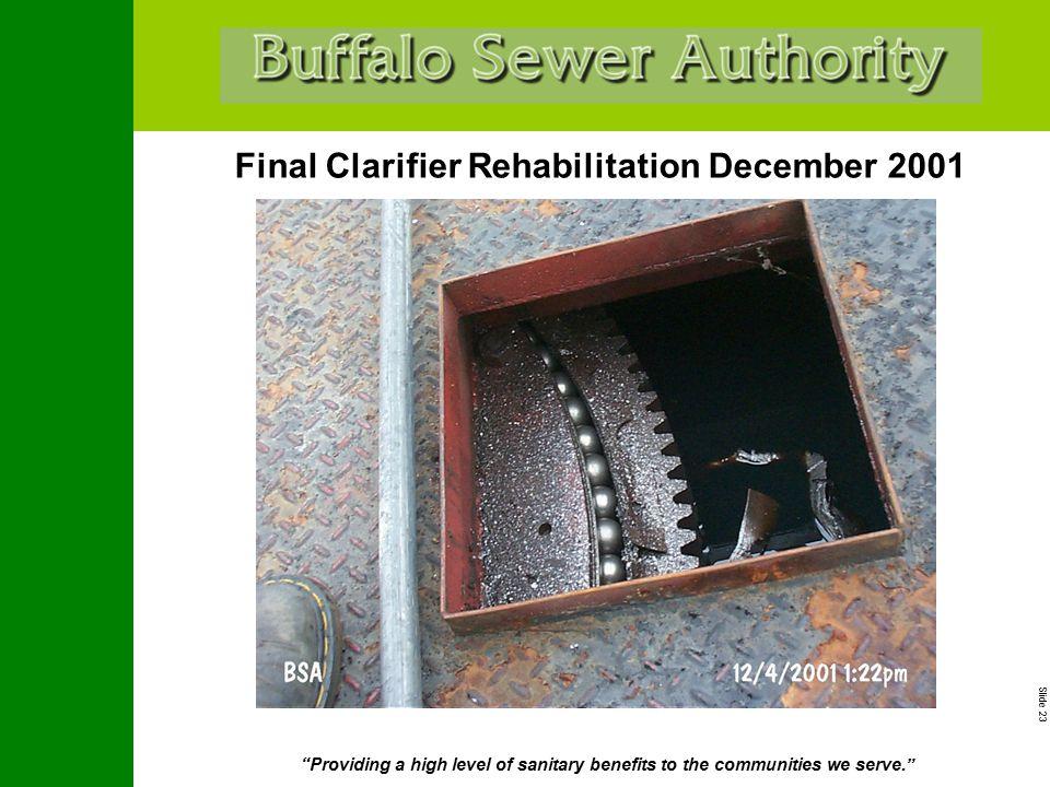 "Slide 23 ""Providing a high level of sanitary benefits to the communities we serve."" Final Clarifier Rehabilitation December 2001"