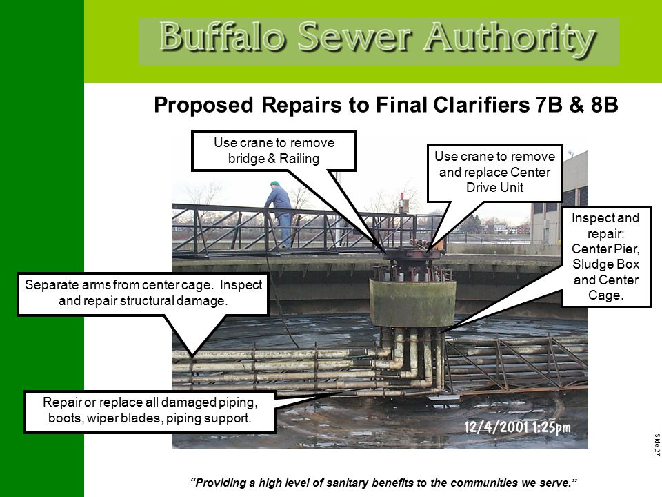 """Slide 27 """"Providing a high level of sanitary benefits to the communities we serve."""" Proposed Repairs to Final Clarifiers 7B & 8B Use crane to remove b"""