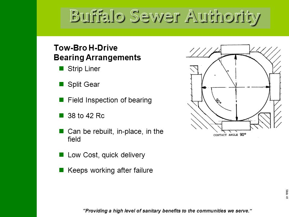"""Slide 41 """"Providing a high level of sanitary benefits to the communities we serve."""" Tow-Bro H-Drive Bearing Arrangements Strip Liner Split Gear Field"""