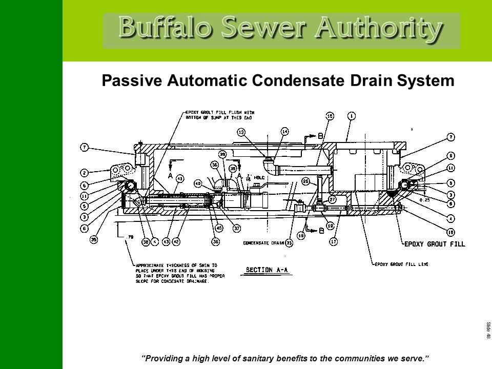 """Slide 48 """"Providing a high level of sanitary benefits to the communities we serve."""" Passive Automatic Condensate Drain System"""