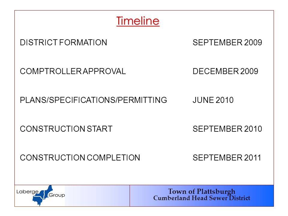 Town of Plattsburgh Cumberland Head Sewer District Timeline DISTRICT FORMATIONSEPTEMBER 2009 COMPTROLLER APPROVALDECEMBER 2009 PLANS/SPECIFICATIONS/PE