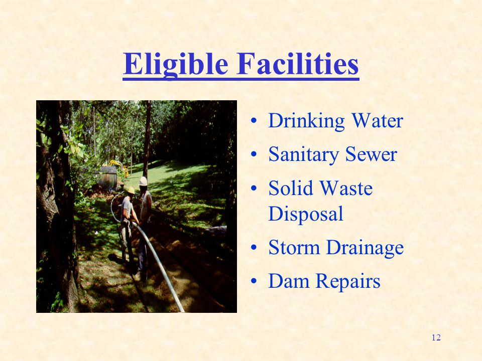 12 Eligible Facilities Drinking Water Sanitary Sewer Solid Waste Disposal Storm Drainage Dam Repairs