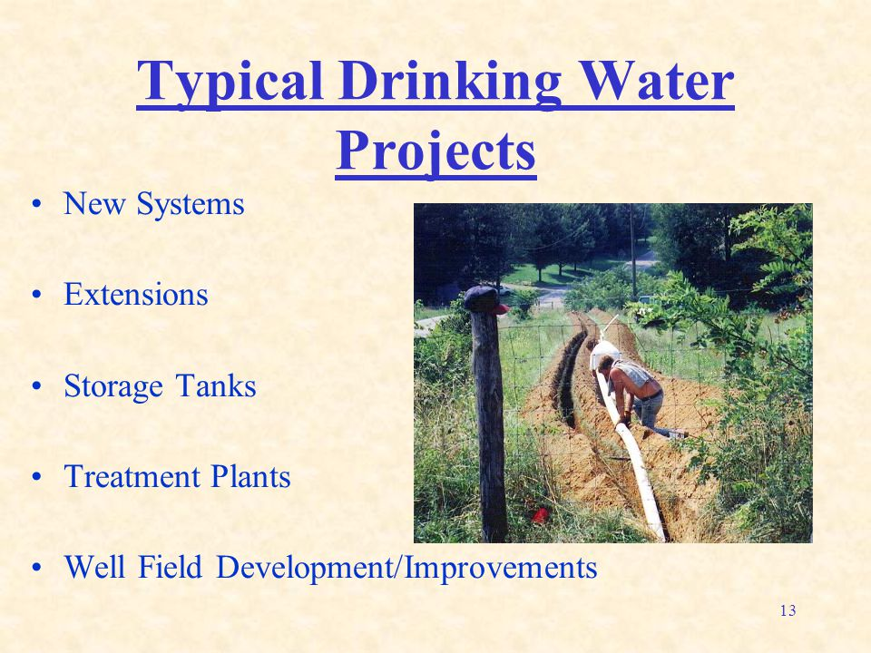 13 Typical Drinking Water Projects New Systems Extensions Storage Tanks Treatment Plants Well Field Development/Improvements