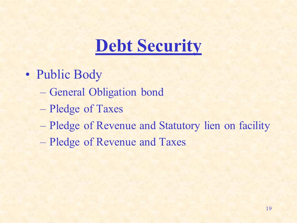 19 Debt Security Public Body –General Obligation bond –Pledge of Taxes –Pledge of Revenue and Statutory lien on facility –Pledge of Revenue and Taxes