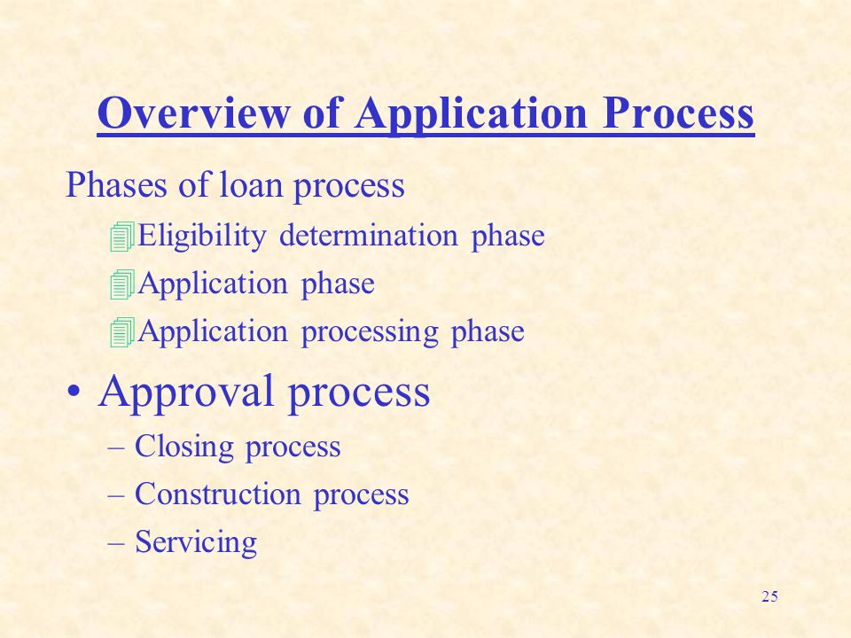 25 Overview of Application Process Phases of loan process 4Eligibility determination phase 4Application phase 4Application processing phase Approval p