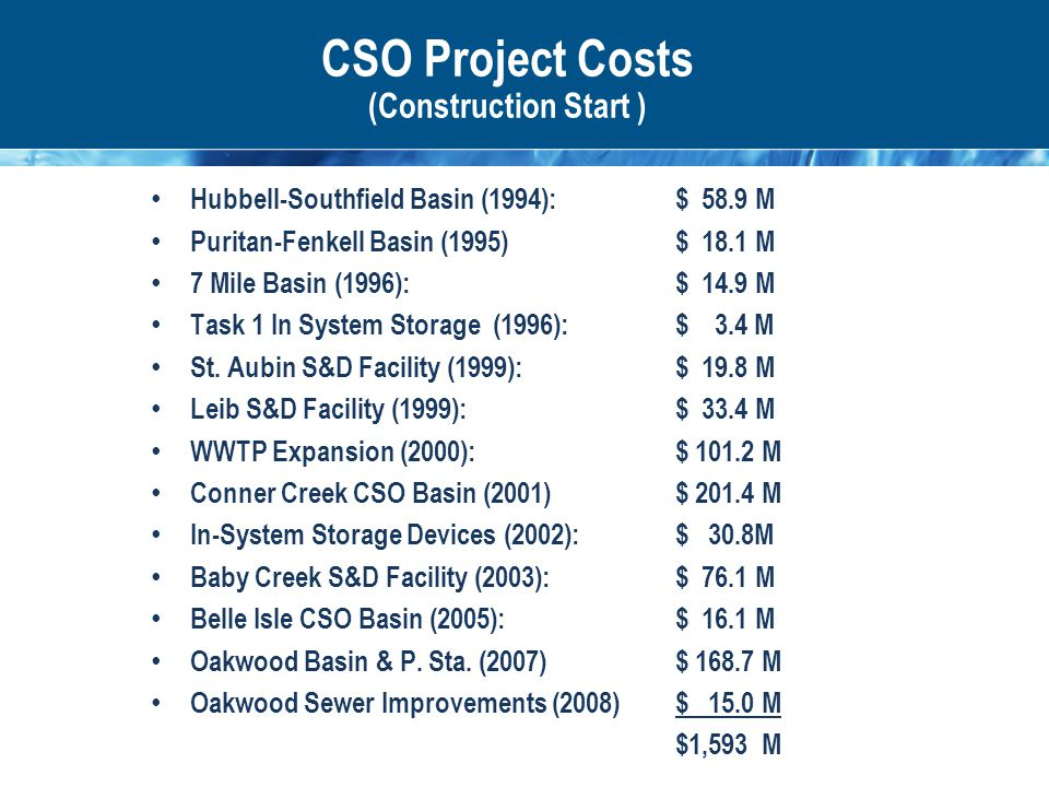 CSO Project Costs (Construction Start ) Hubbell-Southfield Basin (1994): $ 58.9 M Puritan-Fenkell Basin (1995)$ 18.1 M 7 Mile Basin (1996):$ 14.9 M Task 1 In System Storage (1996): $ 3.4 M St.
