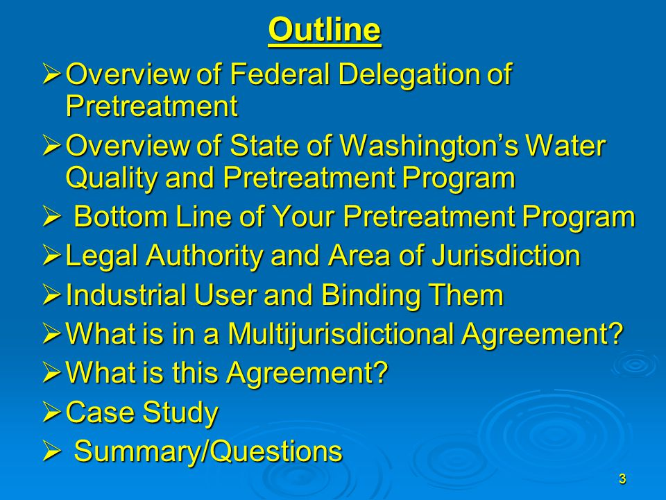 24 Case Study  This is what happened Handout #4 This is combination of Interlocal Agreement and Multijurisdictional AgreementThis is combination of Interlocal Agreement and Multijurisdictional Agreement Multijurisdictional Agreement was giving the contributing jurisdiction responsibility for pretreatment for pretreatment Program implementation and enforcement (handout #3)Multijurisdictional Agreement was giving the contributing jurisdiction responsibility for pretreatment for pretreatment Program implementation and enforcement (handout #3)  One option may have been Handout #2 (giving the control Authority responsibility over pretreatment program implementation and enforcement)