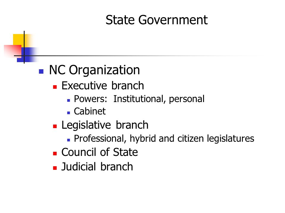 State Government NC Organization Executive branch Powers: Institutional, personal Cabinet Legislative branch Professional, hybrid and citizen legislatures Council of State Judicial branch