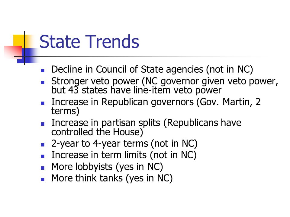 State Trends Decline in Council of State agencies (not in NC) Stronger veto power (NC governor given veto power, but 43 states have line-item veto power Increase in Republican governors (Gov.