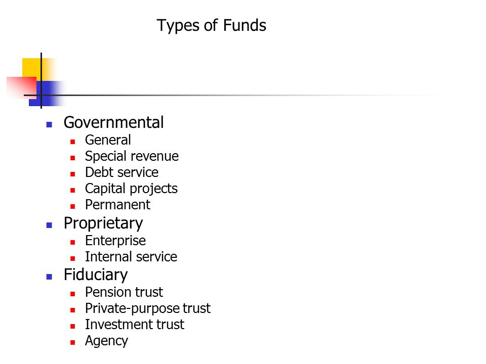 Types of Funds Governmental General Special revenue Debt service Capital projects Permanent Proprietary Enterprise Internal service Fiduciary Pension trust Private-purpose trust Investment trust Agency