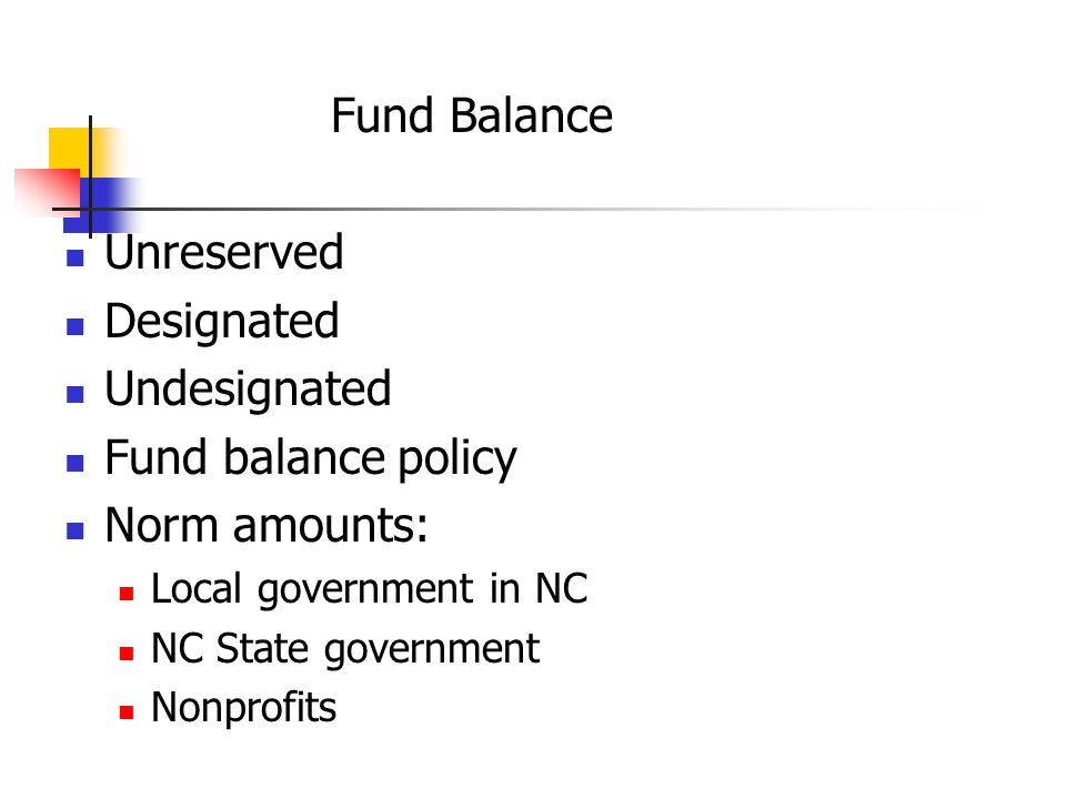 Fund Balance Unreserved Designated Undesignated Fund balance policy Norm amounts: Local government in NC NC State government Nonprofits