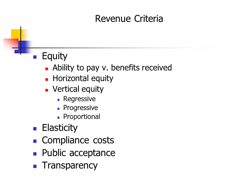 Revenue Criteria Equity Ability to pay v.