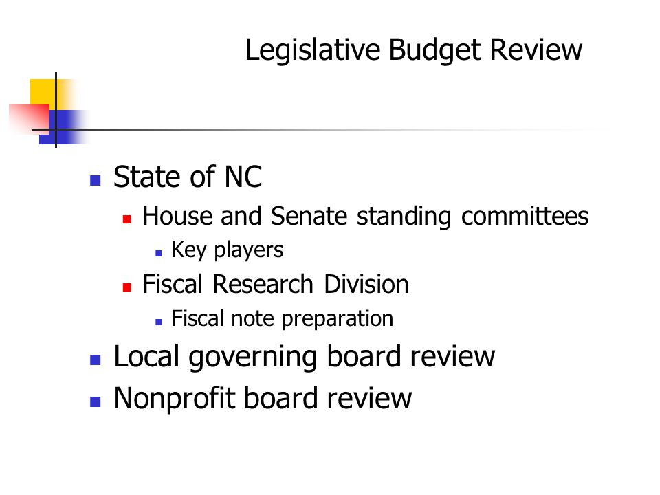 Legislative Budget Review State of NC House and Senate standing committees Key players Fiscal Research Division Fiscal note preparation Local governing board review Nonprofit board review
