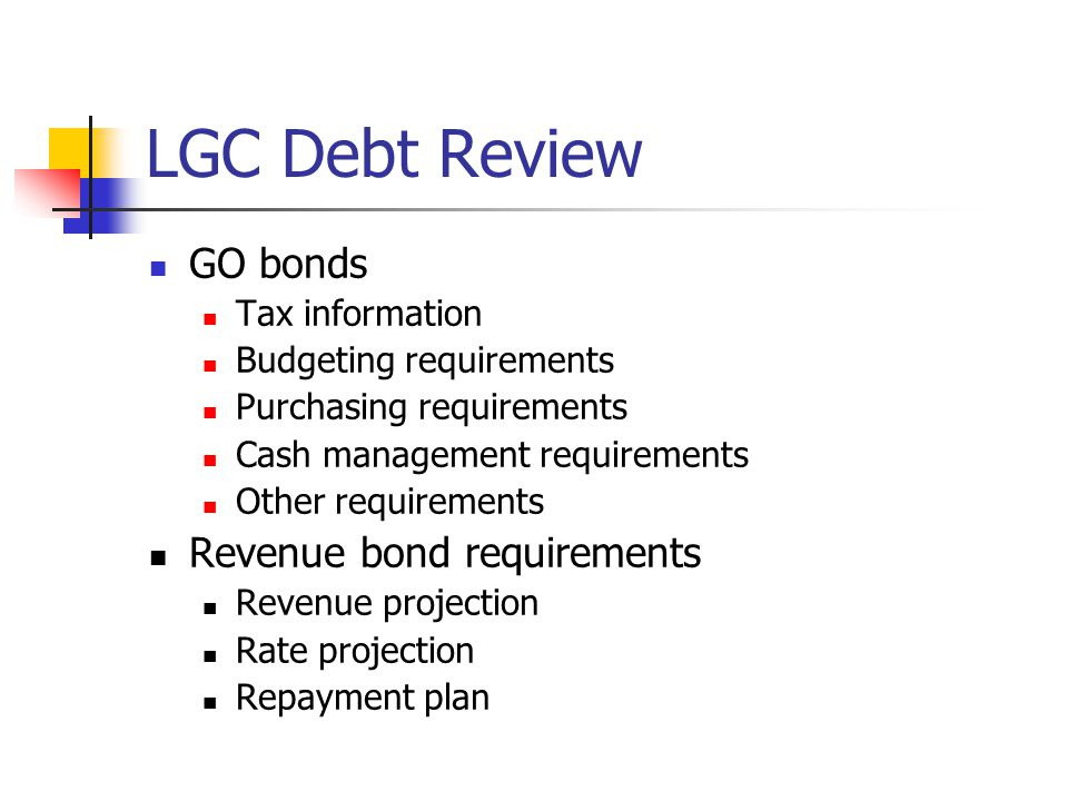 LGC Debt Review GO bonds Tax information Budgeting requirements Purchasing requirements Cash management requirements Other requirements Revenue bond requirements Revenue projection Rate projection Repayment plan