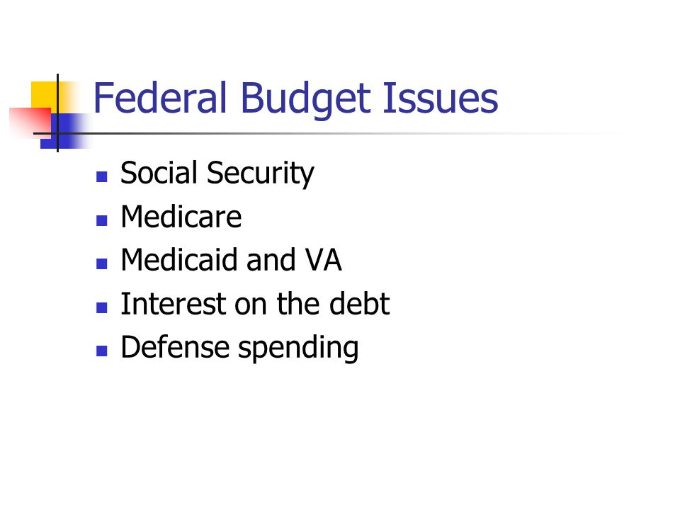 Federal Budget Issues Social Security Medicare Medicaid and VA Interest on the debt Defense spending