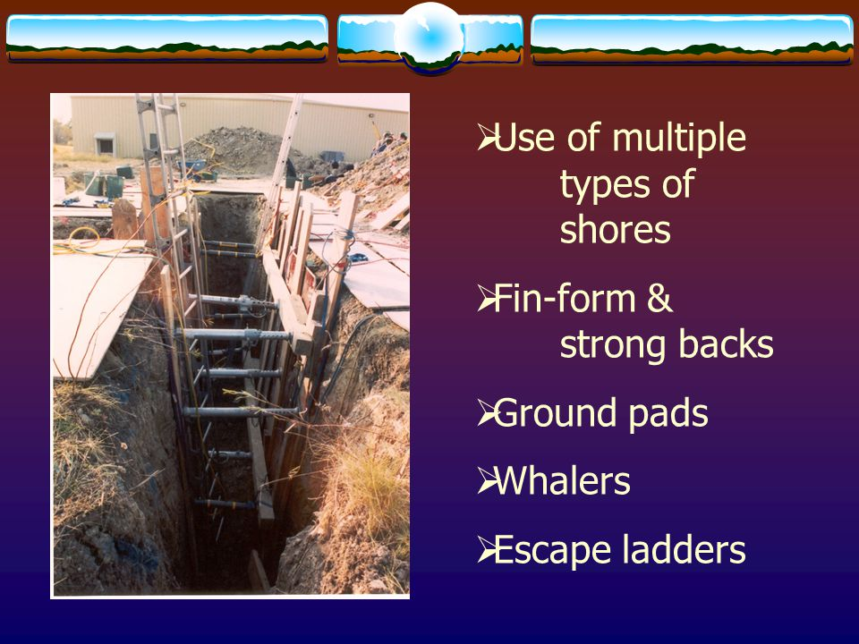 OSHA  Defines a trench as an excavation that is deeper than it is wide and is no more than 15' wide.