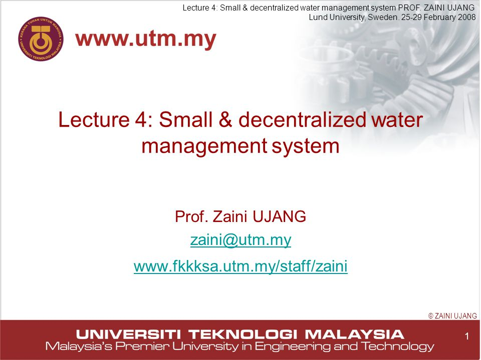 1 Lecture 4: Small & decentralized water management system PROF.