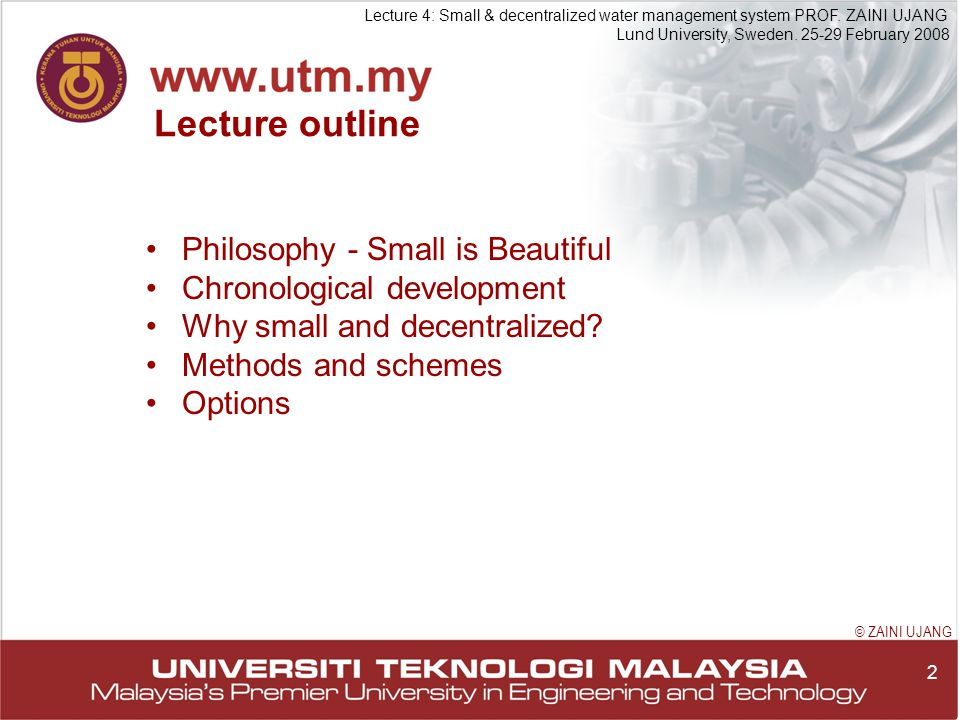 2 Lecture 4: Small & decentralized water management system PROF.
