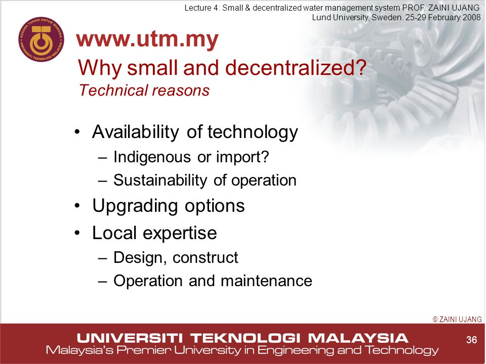 36 Lecture 4: Small & decentralized water management system PROF.