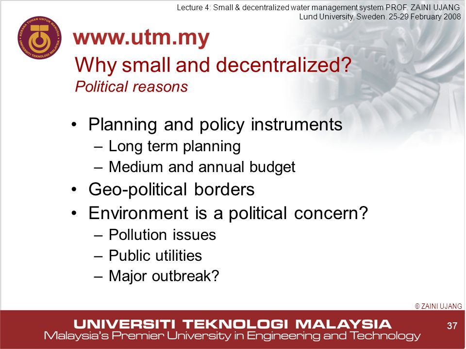 37 Lecture 4: Small & decentralized water management system PROF.