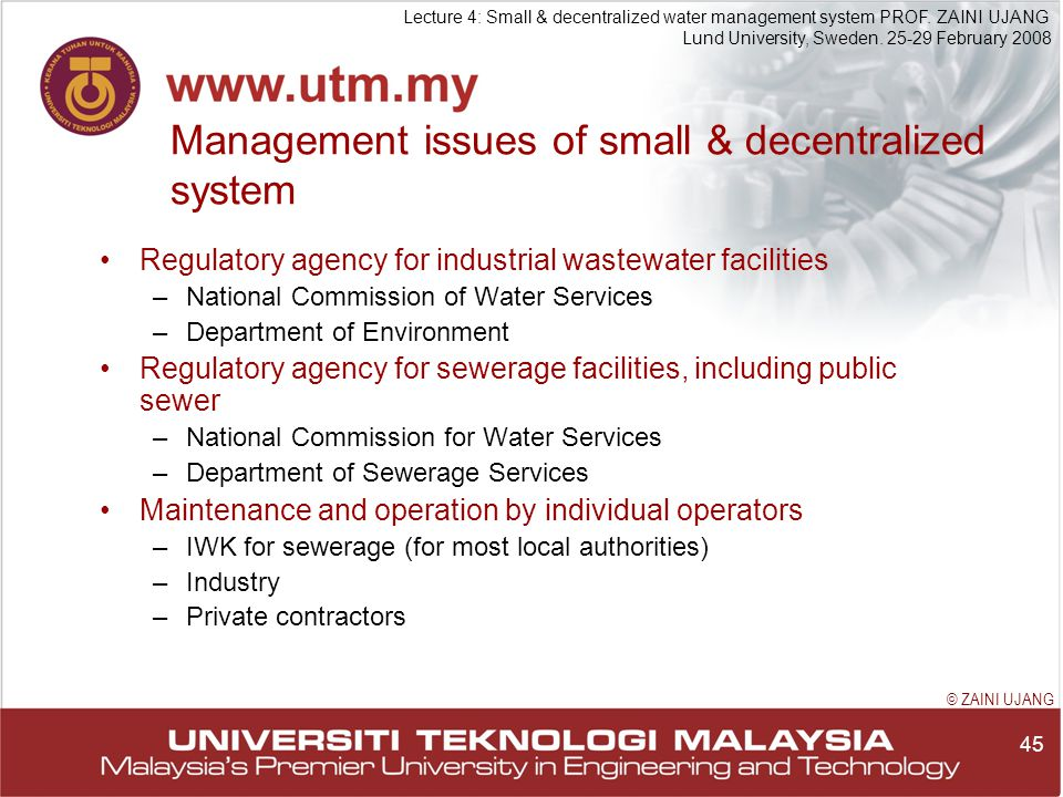 45 Lecture 4: Small & decentralized water management system PROF.