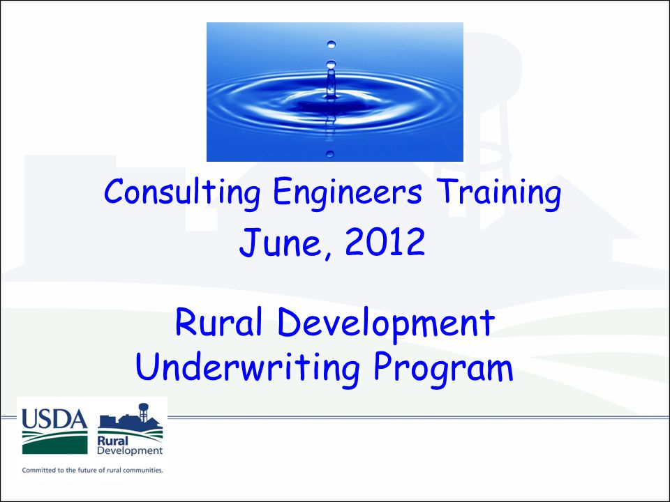 Rural Development Underwriting Program Consulting Engineers Training June, 2012