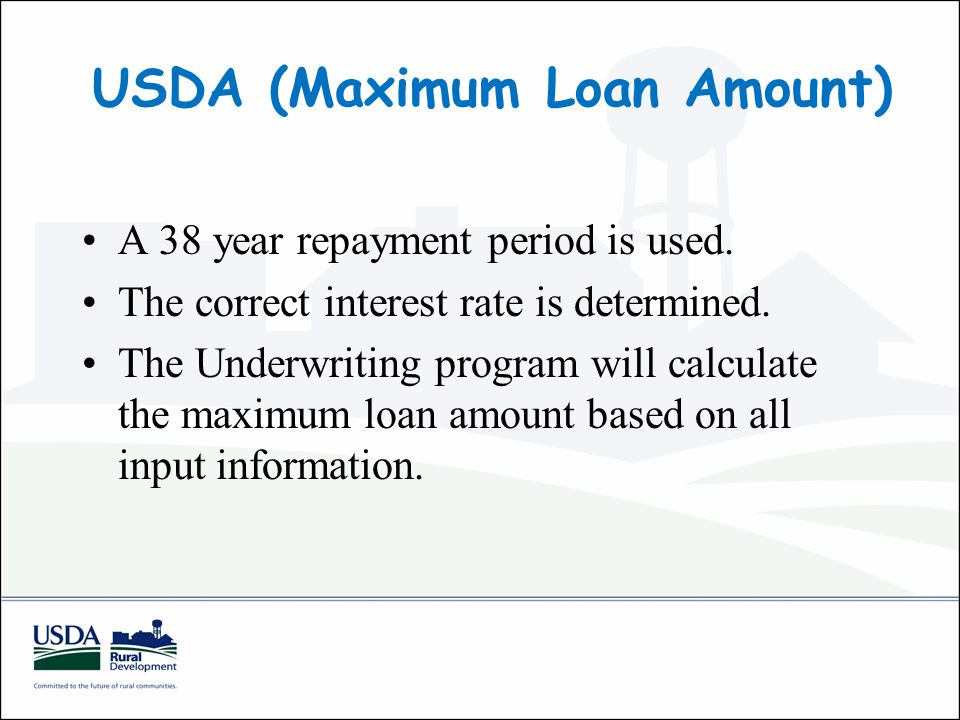 USDA (Maximum Loan Amount) A 38 year repayment period is used.