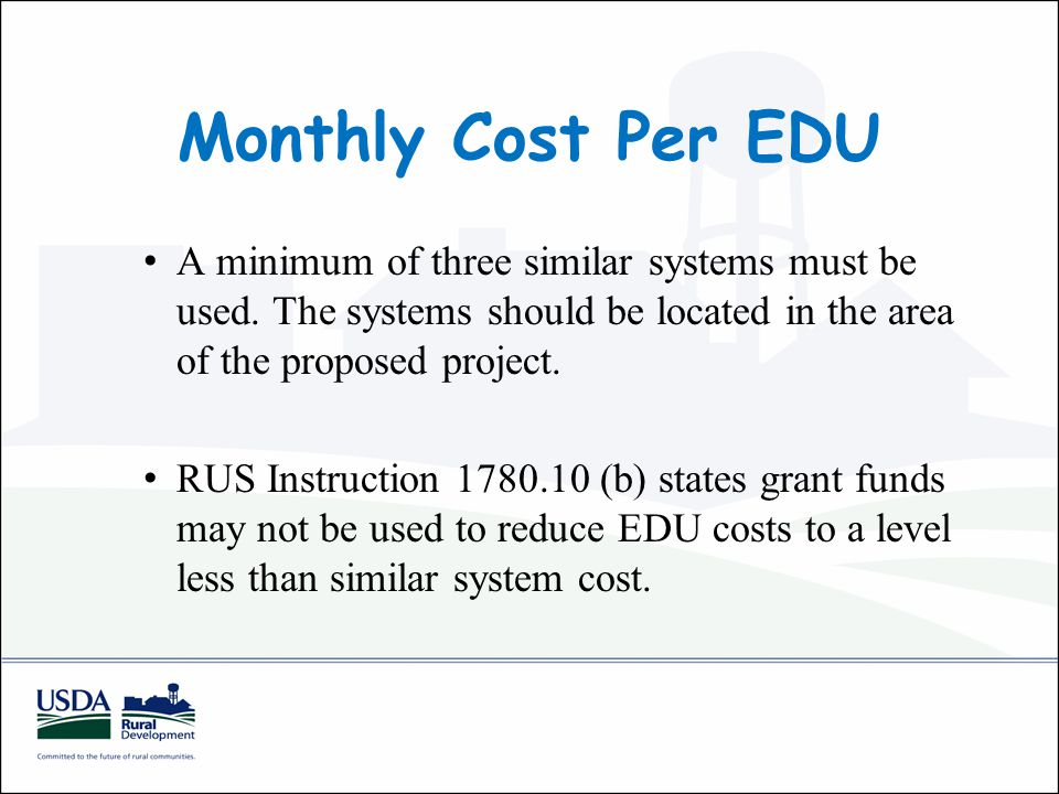 Monthly Cost Per EDU A minimum of three similar systems must be used.