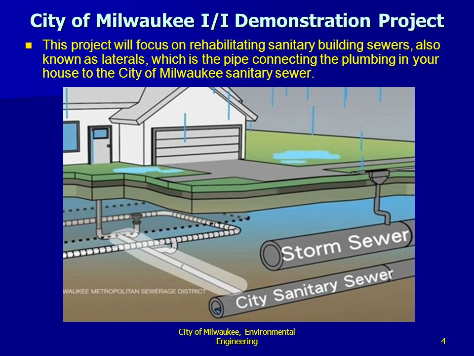 4 City of Milwaukee, Environmental Engineering This project will focus on rehabilitating sanitary building sewers, also known as laterals, which is the pipe connecting the plumbing in your house to the City of Milwaukee sanitary sewer.
