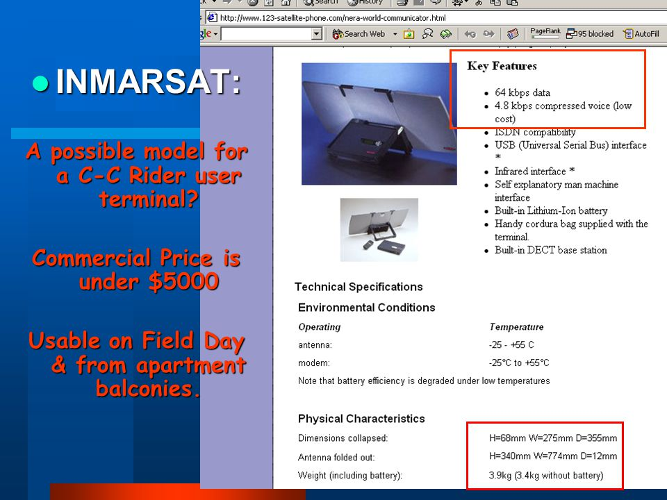 15 INMARSAT: INMARSAT: A possible model for a C-C Rider user terminal.