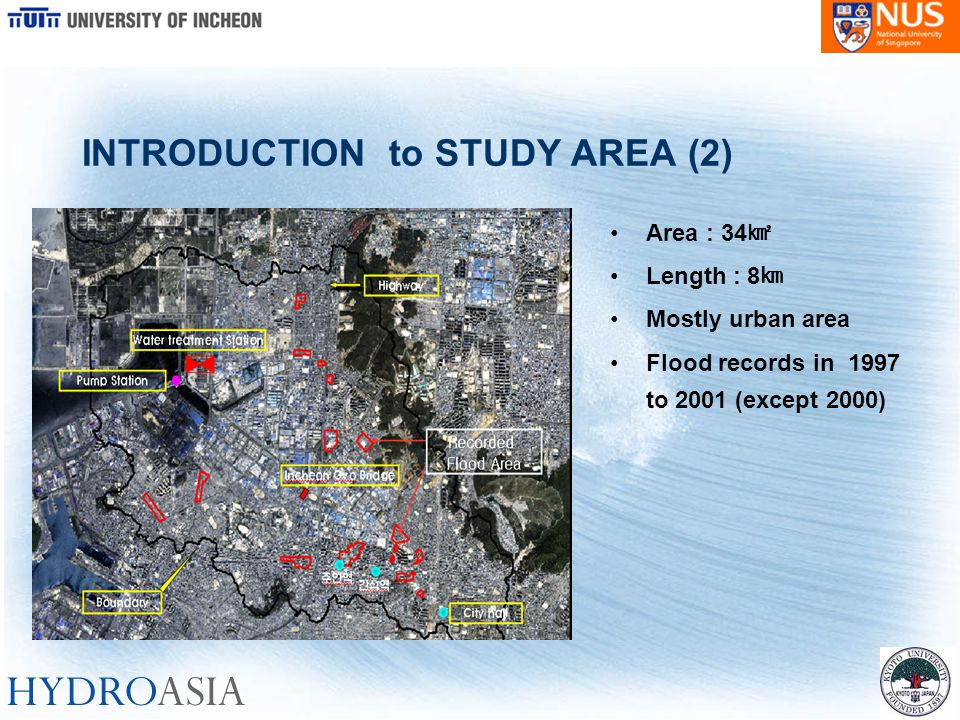 Area : 34 ㎢ Length : 8 ㎞ Mostly urban area Flood records in 1997 to 2001 (except 2000) INTRODUCTION to STUDY AREA (2)