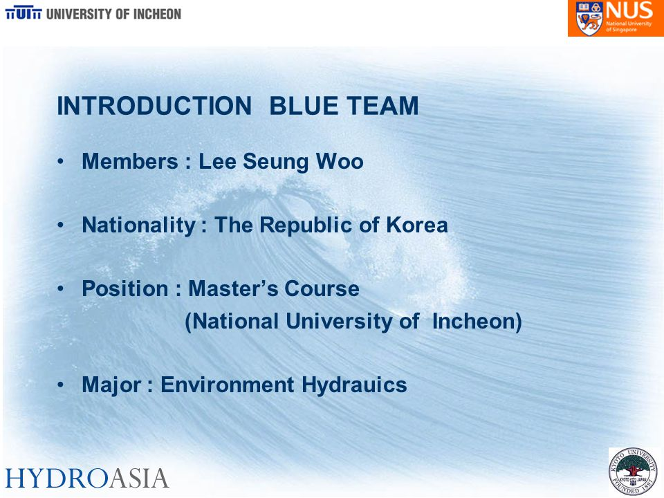 INTRODUCTION BLUE TEAM Members : Lee Seung Woo Nationality : The Republic of Korea Position : Master's Course (National University of Incheon) Major :