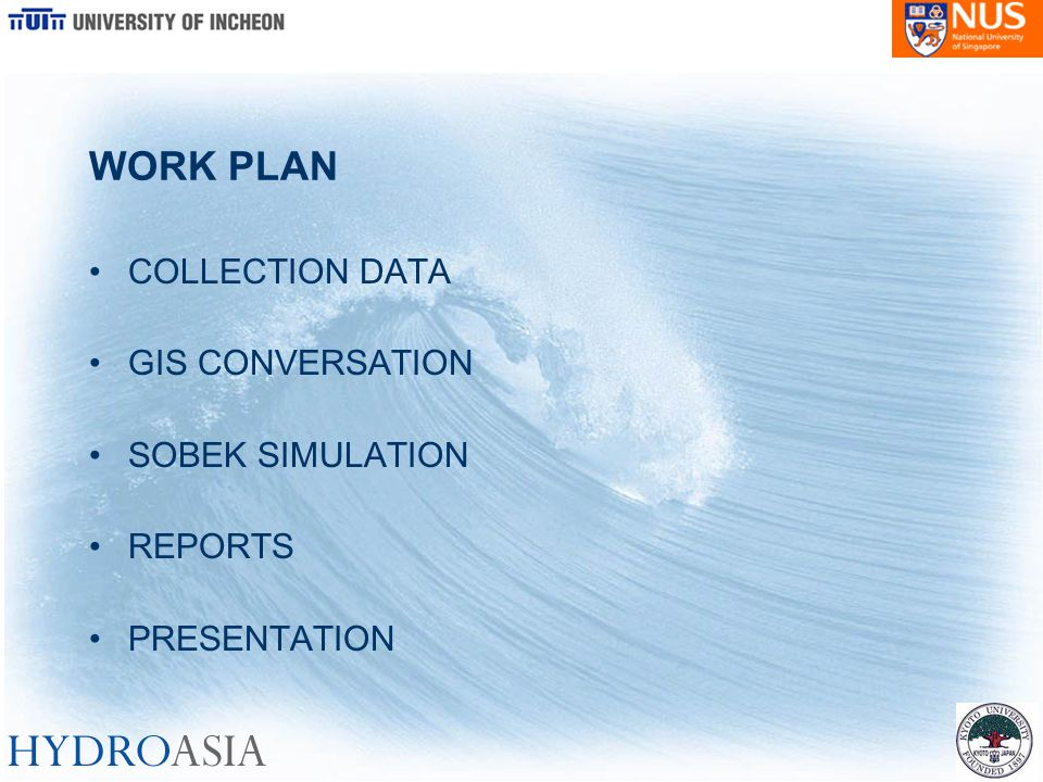 WORK PLAN COLLECTION DATA GIS CONVERSATION SOBEK SIMULATION REPORTS PRESENTATION