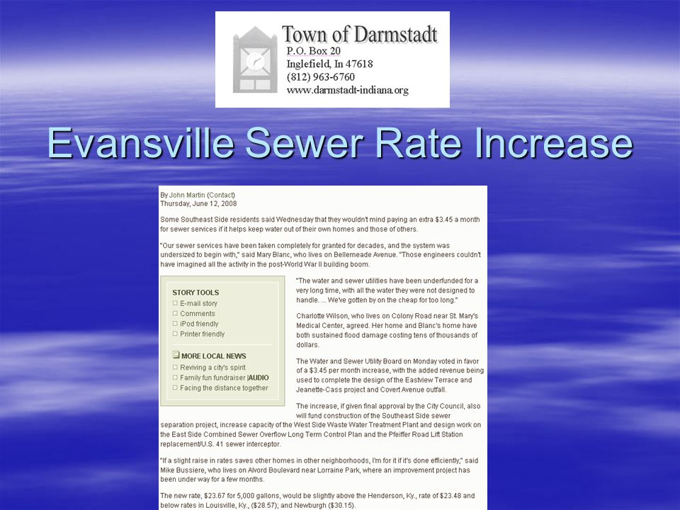 Evansville Sewer Rate Increase