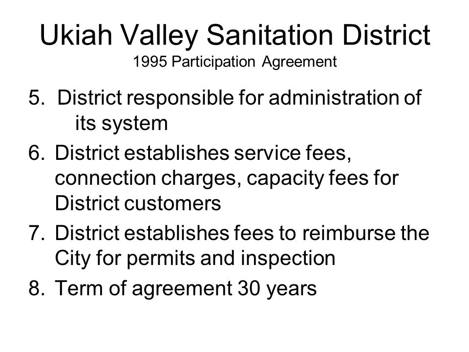 Ukiah Valley Sanitation District 1995 Participation Agreement 5.