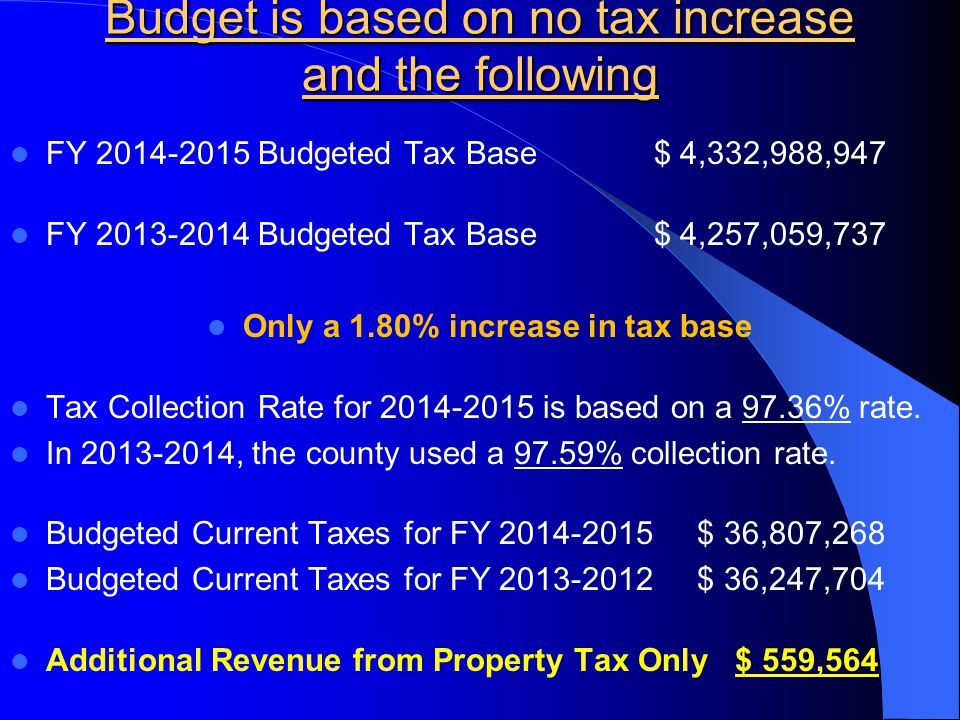 Budget is based on no tax increase and the following FY 2014-2015 Budgeted Tax Base $ 4,332,988,947 FY 2013-2014 Budgeted Tax Base $ 4,257,059,737 Only a 1.80% increase in tax base Tax Collection Rate for 2014-2015 is based on a 97.36% rate.
