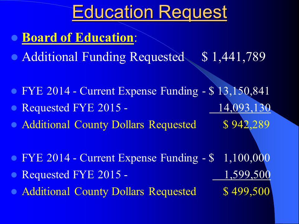Education Request Board of Education: Additional Funding Requested $ 1,441,789 FYE 2014 - Current Expense Funding - $ 13,150,841 Requested FYE 2015 -